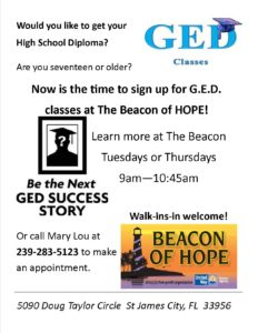 Learn about our GED program! @ Beacon of HOPE | Saint James City | Florida | United States